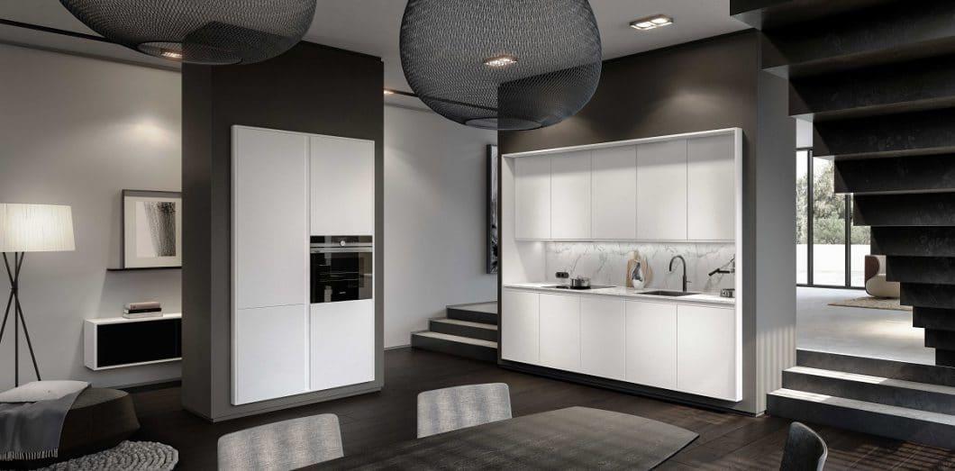 Das elegante SieMatic Frame Design setzt die Wand gekonnt als Passepartout zur Küche ein, die wiederum selbst in Küchenmöbel mit 2 cm feinen Frames gegliedert ist. (Foto: SieMatic)