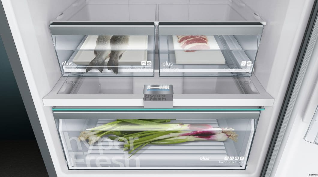 Die hyperFresh-Boxen schaffen perfekte Bedingungen für die Lagerung frischer Lebensmittel. Selbst der Feuchtigkeitsgehalt kann individuell verstellt werden und so auf die spezifischen Inhalte angepasst werden.