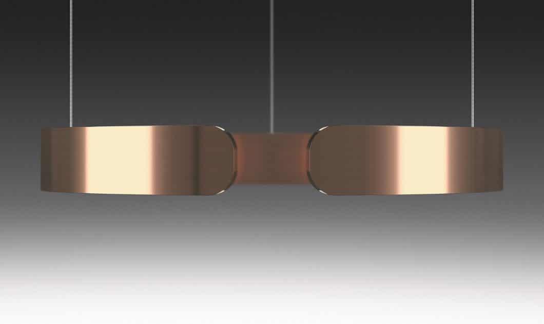Die Mito sospeso besteht aus einem schmalen Leuchtring, der via Infrarot-Sensorik berührungslos gesteuert werden kann. (Foto: Occhio)