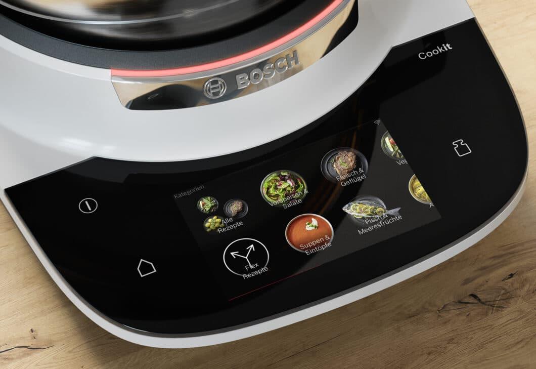 Auf dem Cookit sind 140 kategorisierte Rezepte in drei Niveaustufen voreingestellt. (Foto: Bosch)