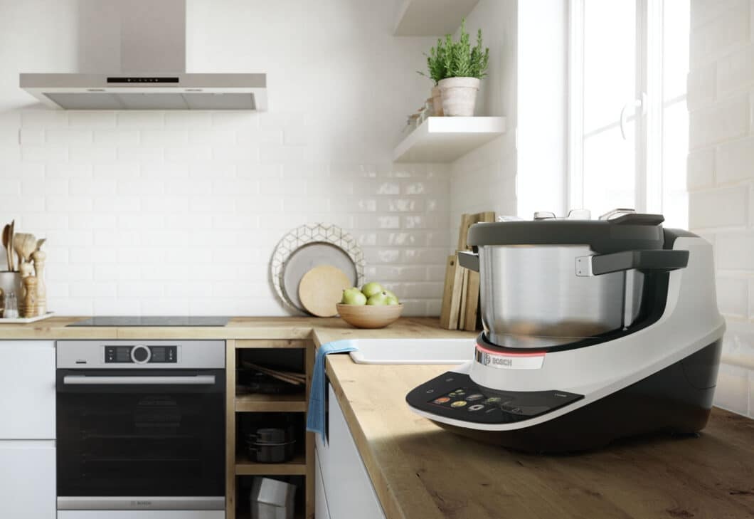Optisch passt der Cookit mit seinem schlichten, cleanen Design zu vielen Küchenstilen. (Foto: Bosch)