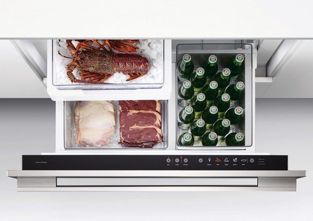 Mit dem Kühlmodus des CoolDrawer™ von -0,5°C werden empfindliche Lebensmittel wie Frischfleisch und frischer Fisch sanft gekühlt und verderben nicht. (Foto: Fisher & Paykel)