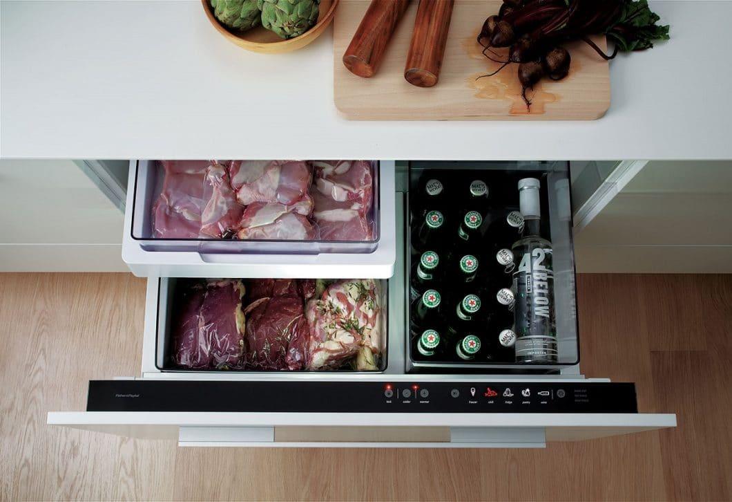 Der CoolDrawer™ ist eine smarte Ergänzung zum üblichen Kühlschrank und besticht durch seine Multifunktionalität als exzellente Küchenschublade. Kleinere Haushalte können ihn durchaus als Kühlschrank-Ersatz benutzen, wobei der Modi-Wechsel dadurch erschwert wird. (Foto: Fisher & Paykel)