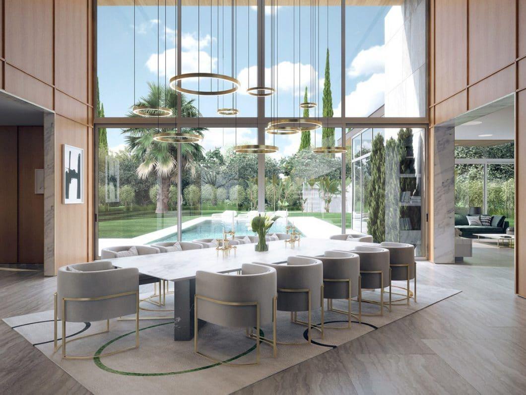 Atemberaubender Blick aus dem Fenster: Auch im Essbereich wird mit Leuchten und Stühlen im 50er Jahre Mid Century-Design gespielt. (Visualizer: Aleksandr Kalinov/ Home Designing)