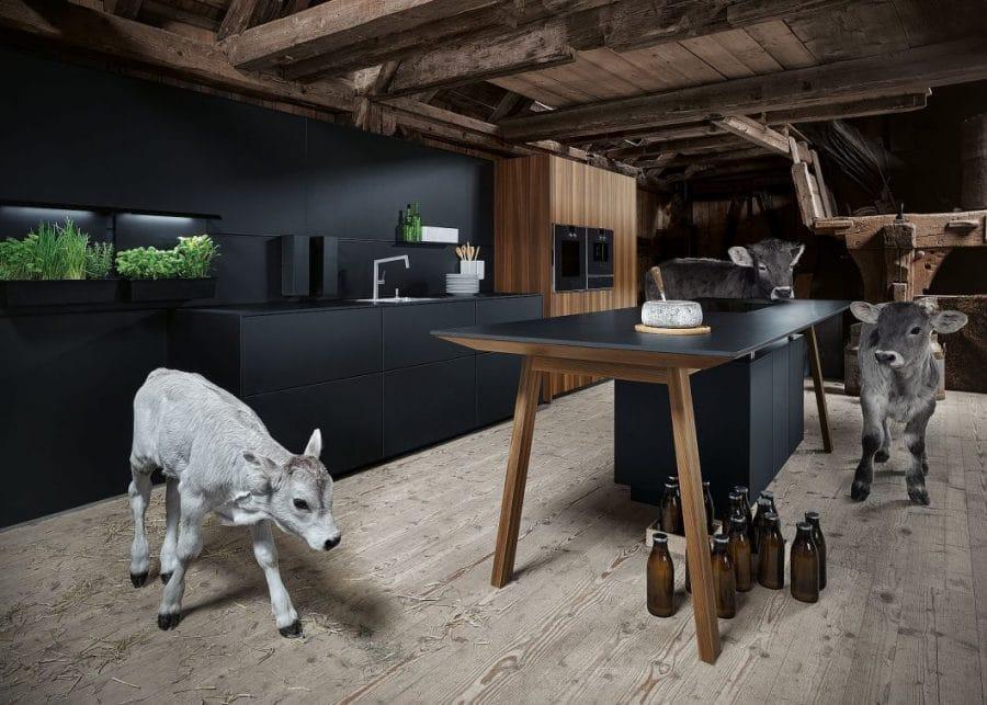 Neugierig erkunden die Kälbchen Enno, Ursel und Sennchen das Küchenset - und verleihen dem Kampagnenmotiv so eine besondere Authentizität und Lebendigkeit. (Foto: next125)