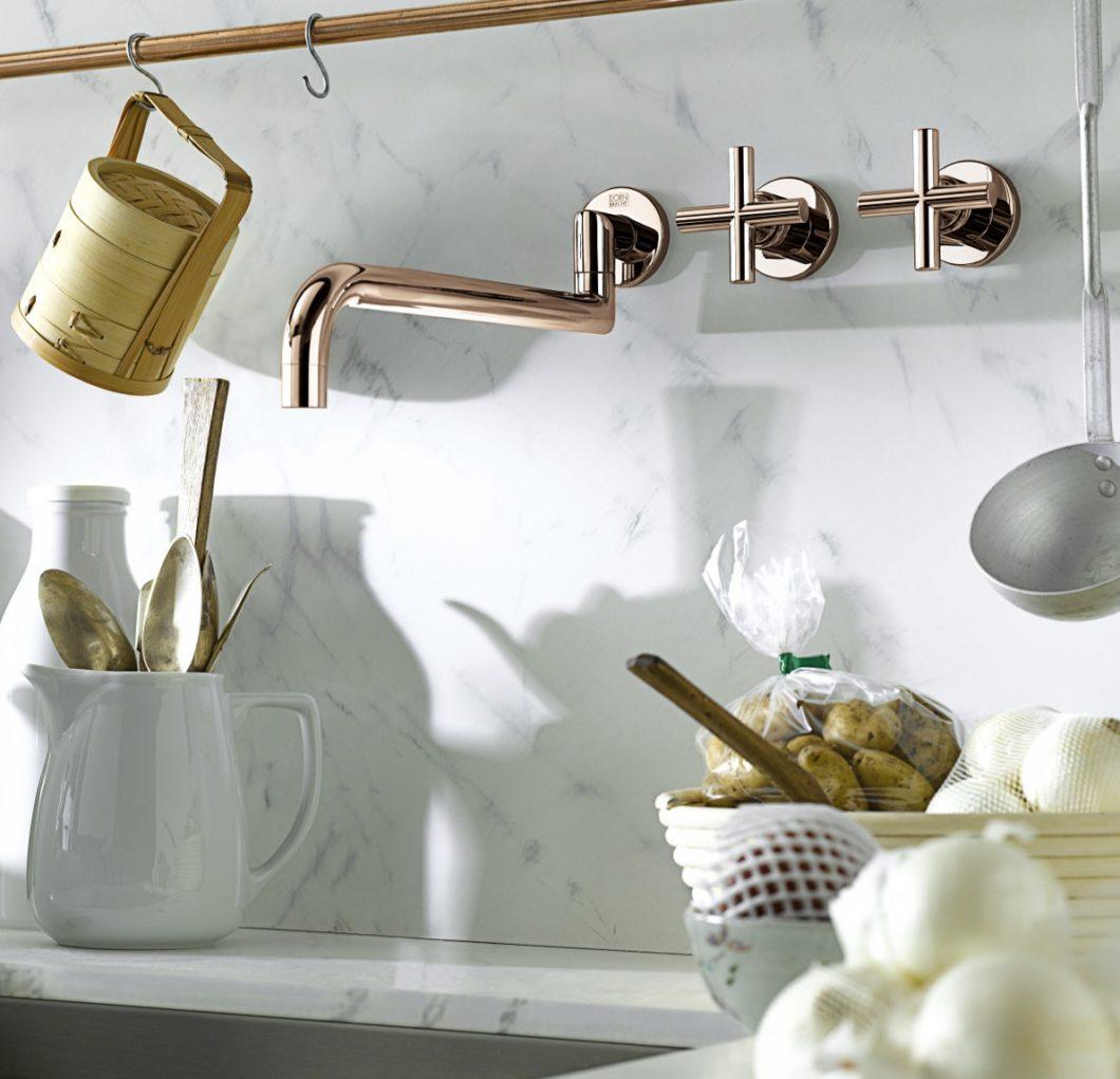 Die Edition CYPRUM in roségoldenem Kupferton kann bei den drei Küchen- und Badarmaturen Tara, Tara Classic und Pivot gewählt werden. (Foto: Dornbracht)