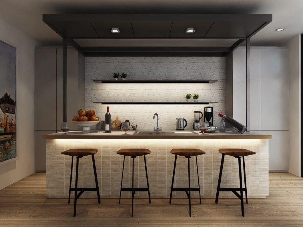 Licht in der Küche kann auf dreierlei Arten eingesetzt werden: z.B. in Deckenspots als Arbeitslicht, in Unterschrankbeleuchtung als Akzentlicht und mithilfe von Pendelleuchten als Stimmungslicht. (Visualizer: Tracy Ong)