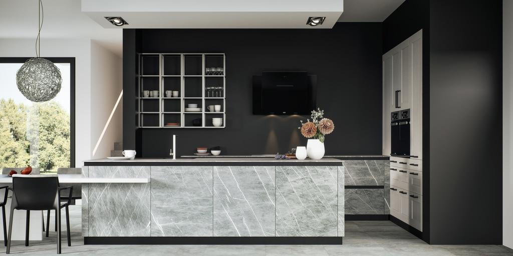 Das Hauptaugenmerk der Villeroy & Boch Küchen liegt - natürlich - auf Keramik, die aber durch weitere Materialien wie Glas, Fenix und Lack ergänzt wird. (Foto: Villeroy & Boch)