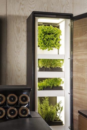 """Öffnet man die Tür der """"Farming Unit"""", strahlt Weißlicht zur selektiven Ernte von Pflanzen und Kräutern. (Foto: michael liebert photography)"""
