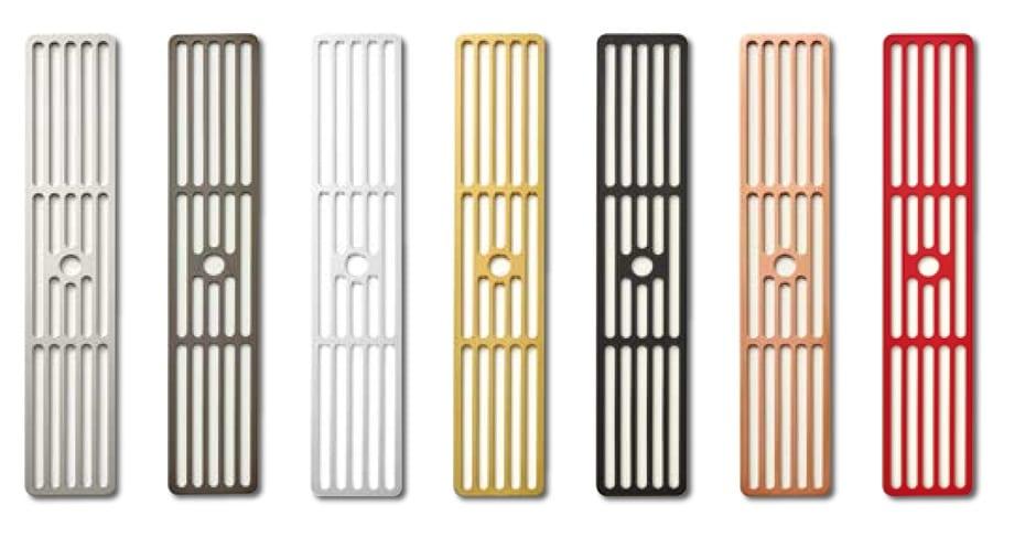 """7 verschiedene Farben bietet Küppersbusch für seine Lüftungsgitter an. Damit lässt sich neben der Muldenlüftung in Weiß auch mit Gold, Kupfer oder """"Hot Chili"""" experimentieren. (Foto: Küppersbusch)"""
