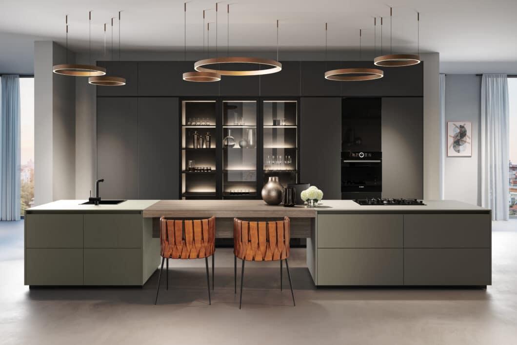 Aus der Greenline-Serie von Rotpunkt: Die grifflose Küche ZEROX HPL XT mit schwebender Arbeitsplatte. (Foto: Rotpunkt Küchen)