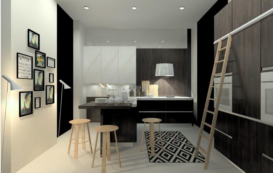 """Dunkles Holz in der Ausführung """"Blackwood"""" und Marmor in Elfenbeinfarbe werden hier mit der neuen grifflosen Programmserie uno zu einem zeitlos-modernen Küchenraum kombiniert. (Foto: rational)"""
