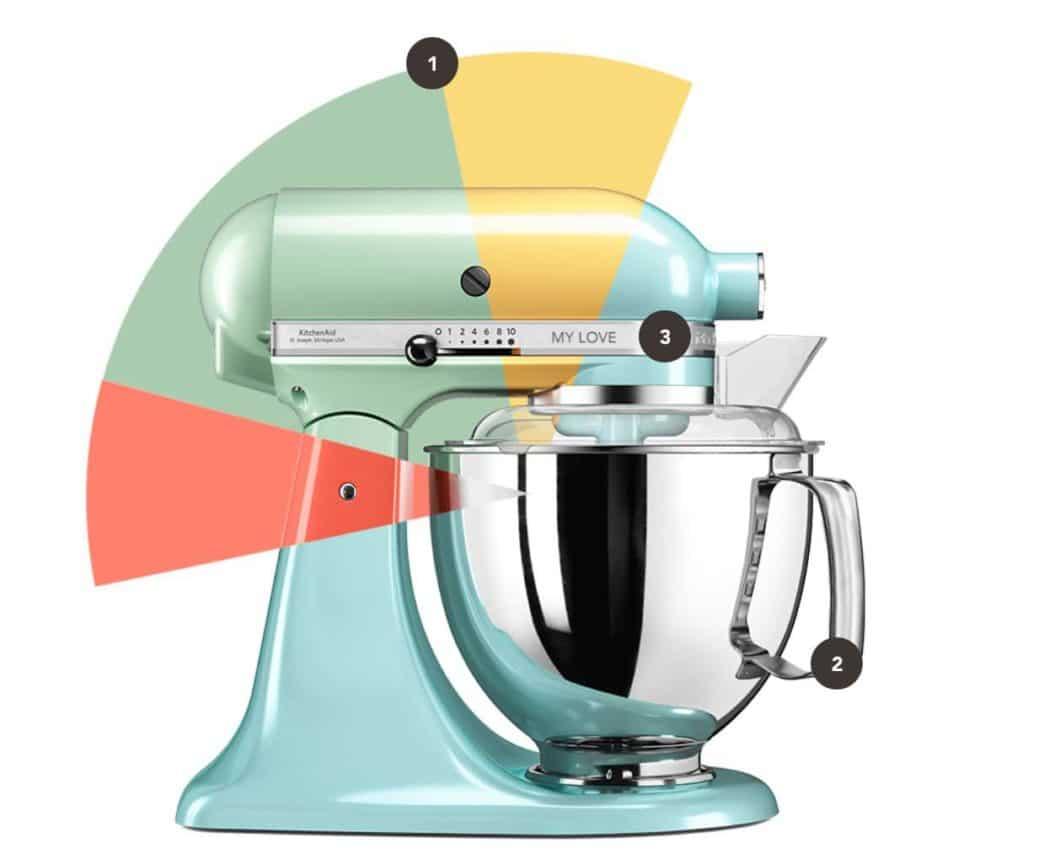 In nur 3 Schritten zur personalisierten KitchenAid-Küchenmaschine: Metallgehäuse, Rührschüssel und sogar Gravur können individuell gewählt werden. (Foto: KitchenAid)