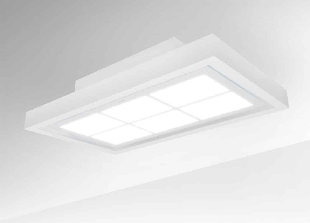 Die Basisbeschichtung der Sky Door von Silverline ist ein mattes, neutralweißes LED-Lichtband, das neben der effizienten Randabsaugung ausreichend Licht zum Kochen spendet. (Foto: Silverline)