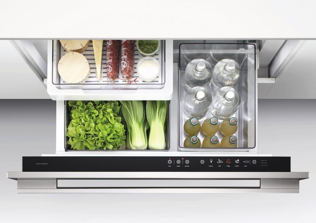 Der Normalmodus: eine Kühlschranktemperatur von etwa +3 Grad bis +7 Grad garantiert eine gute Kühlung für Lebensmittel aller Art, so z.B. für Obst, Fisch, Wurstwaren oder auch Getränke. (Foto: Fisher & Paykel)