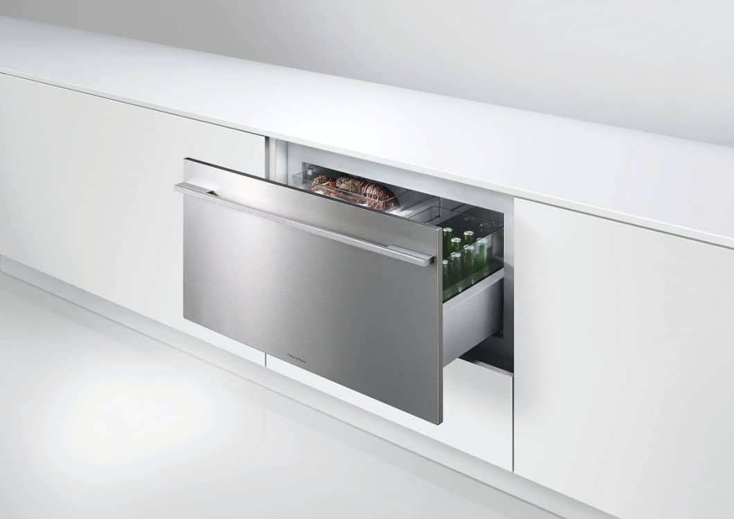 Das Besondere am CoolDrawer™: er lässt sich auf Knopfdruck vom Kühl- zum Gefrierschrank umfunktionieren; dient aber auch als Speisekammer und Weinklimaschrank. (Foto: Fisher & Paykel)