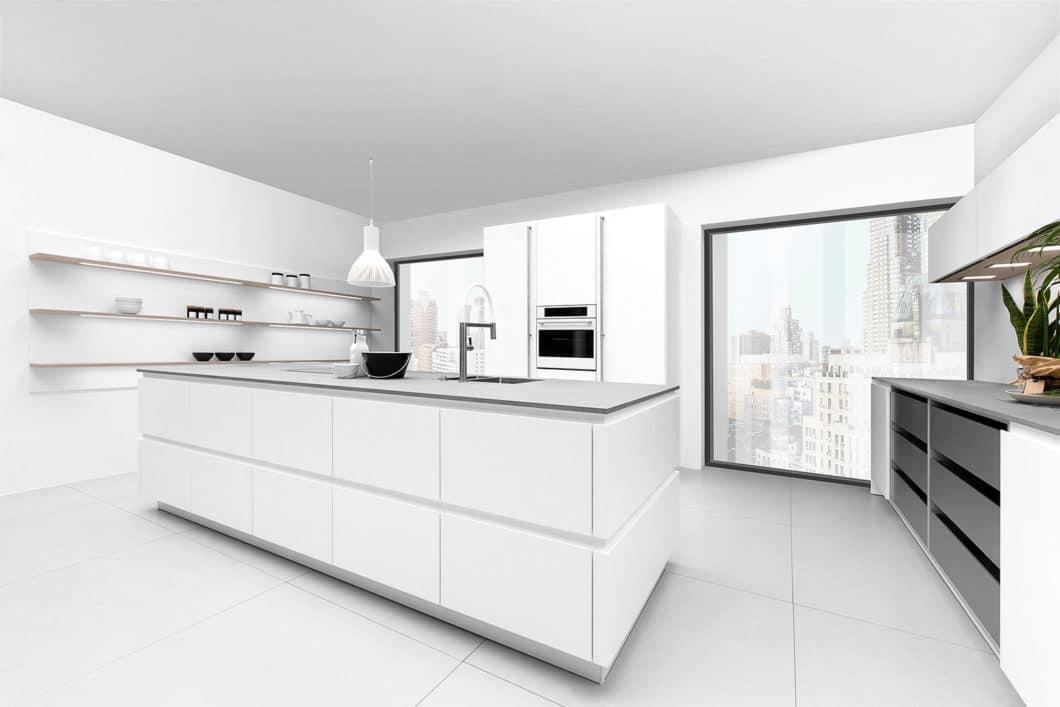 """Das Modell """"Power Slash"""" ist ein besonders kühl, glatt und zeitlos geplanter Küchenraum - perfekt für moderne Lofts geeignet. (Foto: Rotpunkt)"""