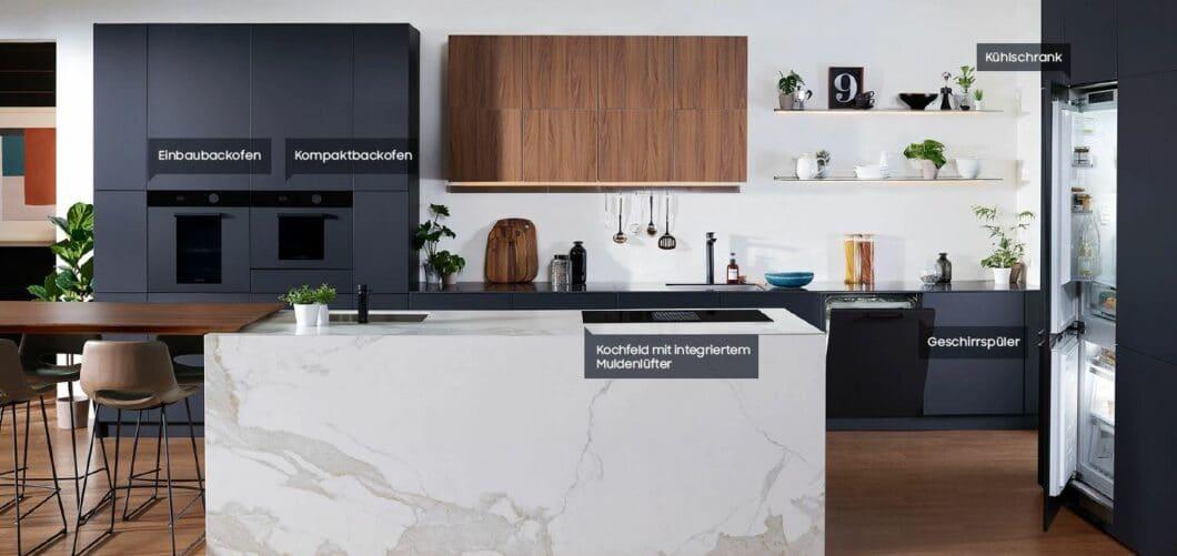 Einbaubackofen, Geschirrspüler, Kühlschrank und Muldenlüfter: die Samsung Infinite Line umfasst alle wichtigen Geräte moderner Küchen. Doch was steckt hinter der optischen Einheit? (Foto: Samsung)