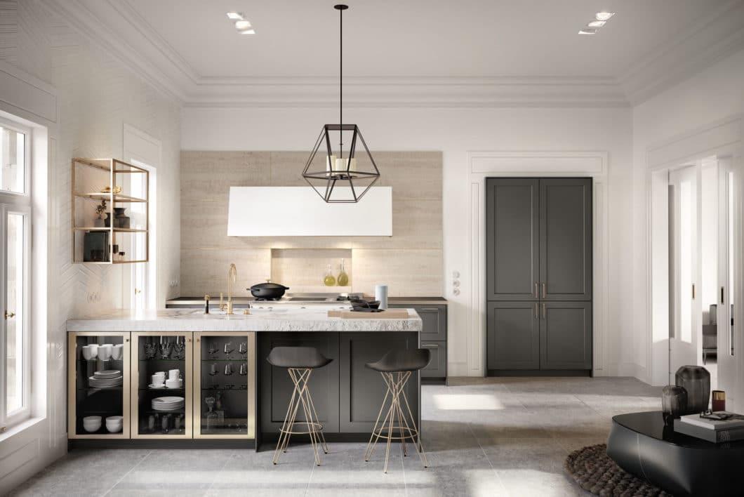 Wunderbar wandelbar: die SieMatic CLASSIC-Kollektion wird mit traditionellen Elementen zu ganz unterschiedlichen Küchenräumen stilisiert, bspw. mit Anklängen zur modernen Landhausküche oder französischen Edelstahl-Küchen. (Foto: SieMatic)