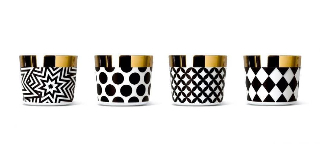 Neben weißen und schwarzen Bechern mit glatter oder eingefräster Oberfläche wurden auch Becher im grafischen Streifen Dekor Ca' d'oro entworfen. (Foto: SIEGER BY FÜRSTENBERG)