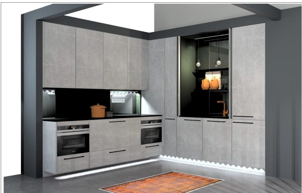 """rational widmet sich verstärkt kleinen Wohnwelten: die Ausführung """"textil metallic"""" soll schmalen Küchenzeilen einen urbanen Flair verleihen und zeitgleich Wohnlichkeit in der Haptik ausstrahlen. (Foto: rational)"""