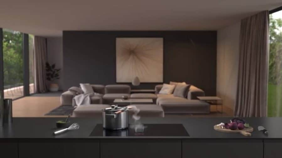 Die moderne Küche öffnet sich dem Wohnraum hin - und sollte durch nichts in ihrer optischen Ästhetik gestört werden. V-ZUG Fusion mit integriertem Kochfeldabzug unterstreicht die Puristik der glatten Kücheninsel. (Foto: V-ZUG)
