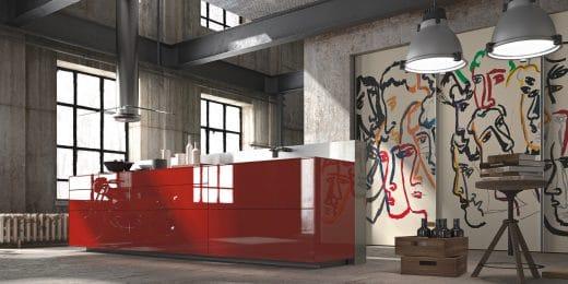 Valcucine produziert seine farbigen Glasküchen individuell auf die (Farb-)Wünsche des Kunden zugeschnitten. (Foto: Valcucine)