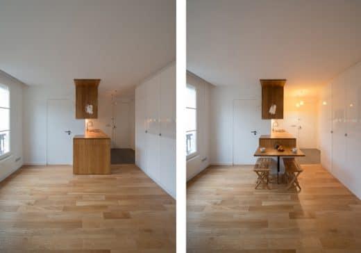 Clevere Idee: Ein an der Kücheninsel integrierter Klappschrank lässt sich wunderbar zum Frühstücken ausfahren. (Design/Foto: Melanie Allemand Architectures, Fr)