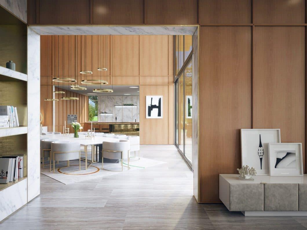 Blick vom Wohnbereich zum Essbereich, der in die Holzküche mündet. (Visualizer: Aleksandr Kalinov/ Home Designing)