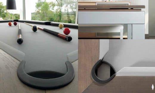 Nimmt man den Deckel des Esstisches ab, befindet sich darunter ein ganz normaler Billardtisch - als moderne, schmale Konstruktion. (Foto: Saluc)