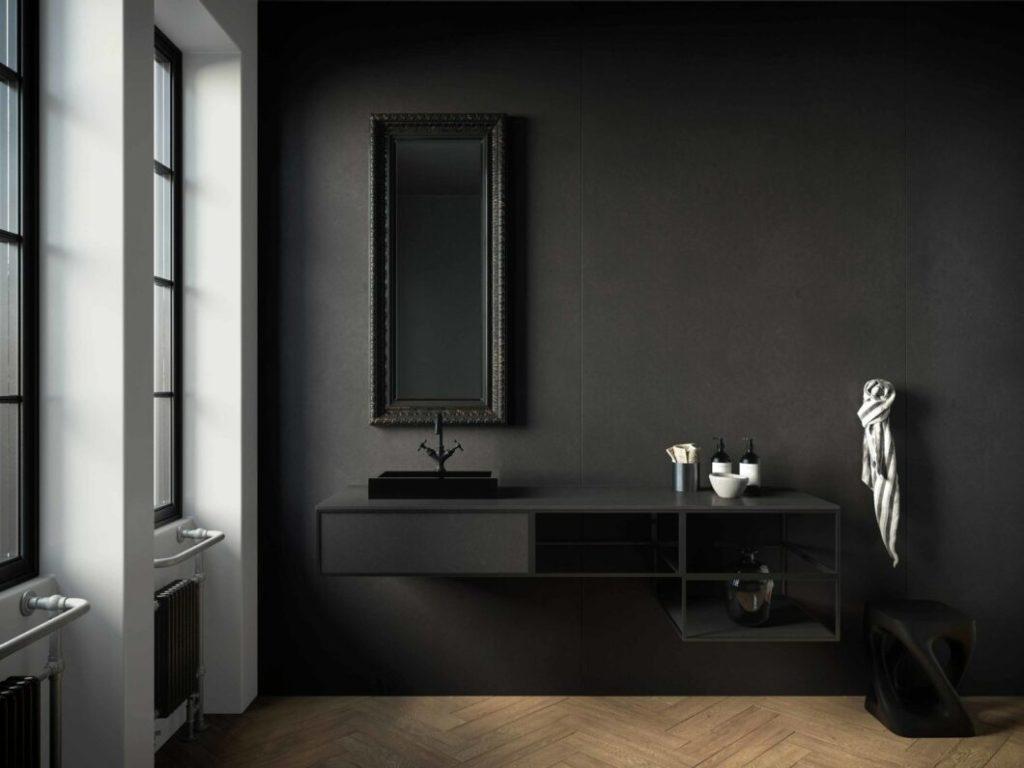 """Enorm stilvoll: """"Eter"""" ist einem schwarzbraunen Granit täuschend ähnlich und äußerst widerstandsfähig. (Foto: Cosentino)"""