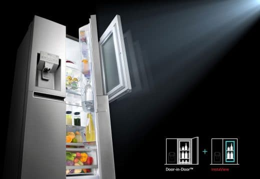 Dank doppelflügliger Verglasung kann die Kaltluft nicht aus dem Inneren des Kühlschranks entweichen. Nutzer sparen Energie, in dem sie von außen hineinschauen, anstatt die Tür mehrere Male zu öffnen. (Foto: LG Electronics)