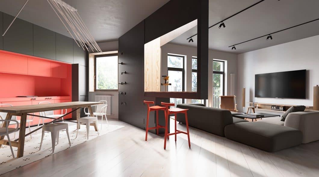 Smart: Diese architektonische Spielerei ist Raumtrenner und Küchenbar gleichermaßen. (Foto: Martin Architects/ Home Designing)