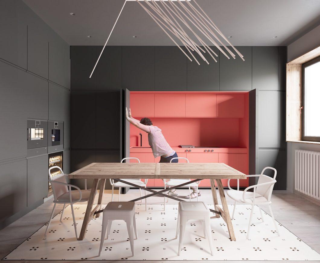 """Gerne werden die Küchenabschnitte, an denen es unorganisiert oder schmutzig wird, auch durch Flügeltüren verborgen - die sogenannte """"wet kitchen"""" kann also auch als versteckte Küche in einen Raum integriert werden. (Foto: Martin Architects)"""