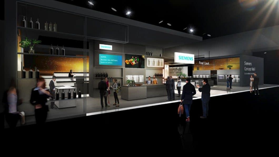 """Der Siemens """"Food Court"""" ist nur ein Teil einer äußerst komplexen Concept Mall, mit der Siemens Hausgeräte von der Zukunft der Küche erzählen will. (Foto: Siemens Hausgeräte)"""