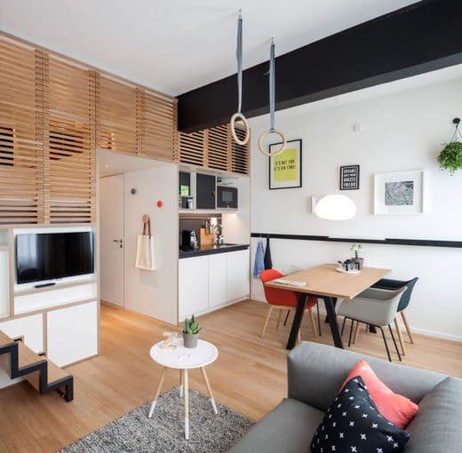 Die offene Wohnküche wird zum zentralen Anlaufpunkt des Appartements gemacht. Der in Hotels sonst übliche zentrale Schlafplatz wird versteckt. (Foto: livezoku.com)