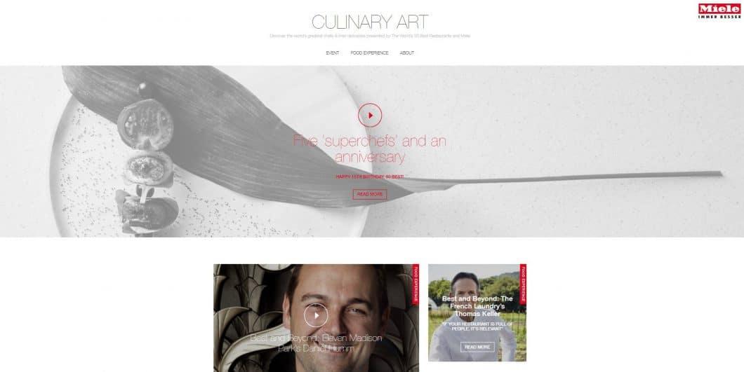 """Im Miele Online-Magazin """"Culinary Art"""" werden persönliche Interviews, Artikel und Videoreportagen zu Spitzenküche und Starkochs im Porträt einer breiten Öffentlichkeit zur Verfügung gestellt. Damit ist Miele einmal mehr das direkte Bindeglied zwischen Premiumanspruch und Endkunde. (Foto: Screenshot 50best.miele.com)"""