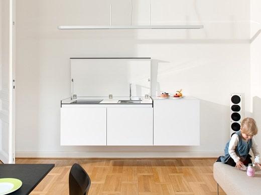Minikitchen by miniki - die originellen Modulküchen tarnen sich in geschlossenem Zustand als elegantes Sideboard. Sehr für kleine Wohnungen zu empfehlen! (Foto: miniki)