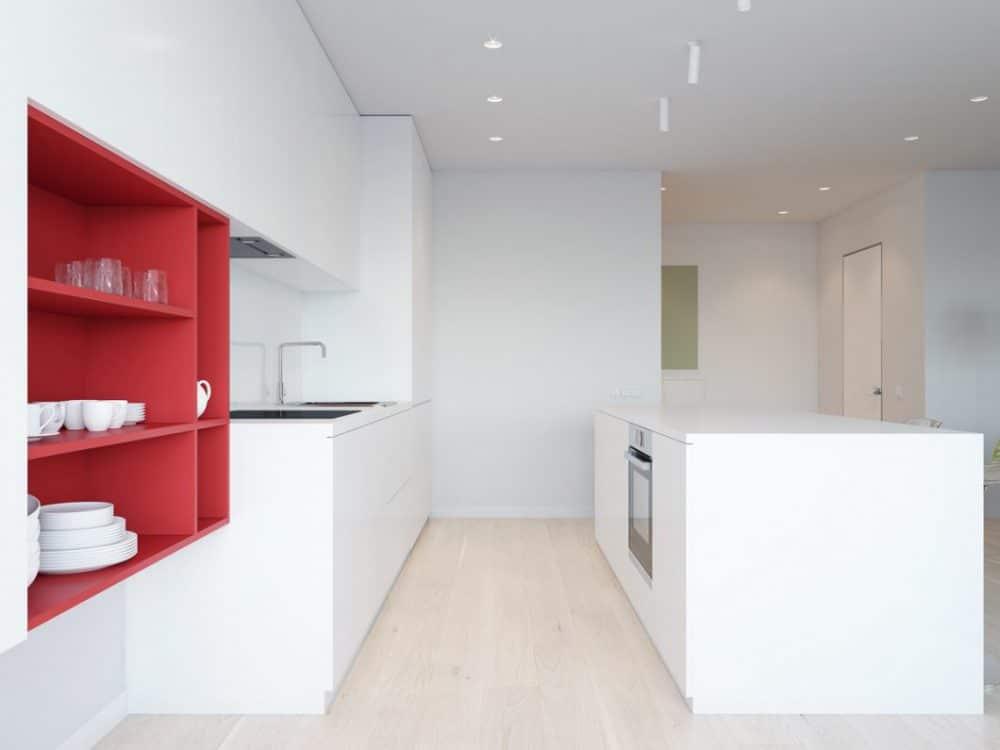 Grifflose Küchen sind puristisch und makellos. Ein Großteil der modernen Küchen wird heute grifflos geplant. (Visualizer: Artyom Bezfamilniy)