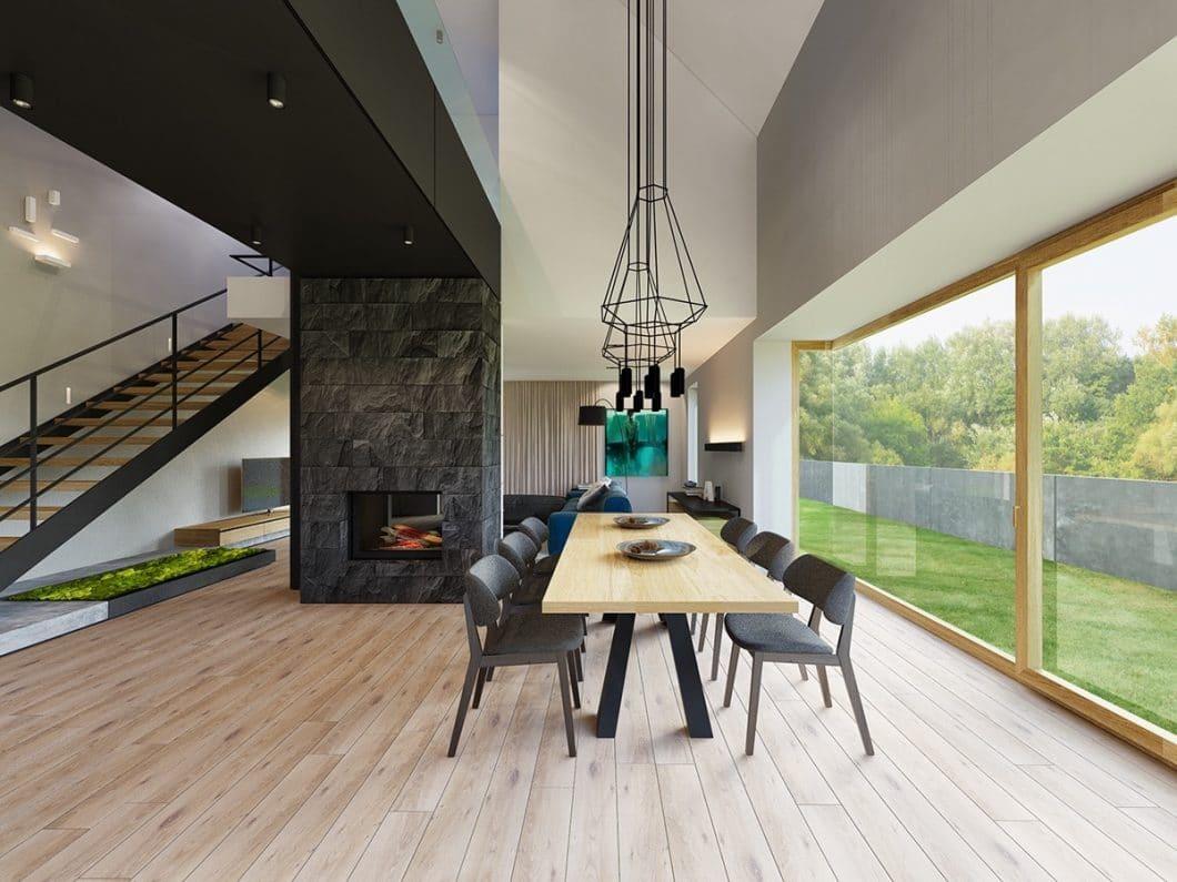 Küchen- und Essbereiche, die wie selbstverständlich in den Wohnbereich übergehen: Offenes Wohnen wird geliebt. Mittlerweile wendet sich der Trend aber hin zu sanften Zonierungen - zum Beispiel in Form von Kaminen und Trennwänden. (Architect: Gismoarchitects, Olena & Taras Bodnar)