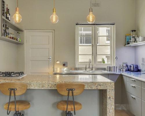 Terrazzo in der Küche ist widerstandsfähig, robust und ein hübscher Hingucker. Leider auch kein günstiger. (Foto: Houzz)