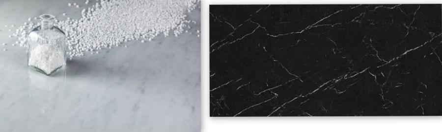 """Wer sich lieber von italienischem und spanischem Marmor inspirieren lassen will bei der täglichen Küchenarbeit, kann sich die Neolith-Flächen """"Blanco Carrara"""" und """"Nero Marquina"""" auf der Messe ansehen. (Foto: Neolith/ TheSize)"""