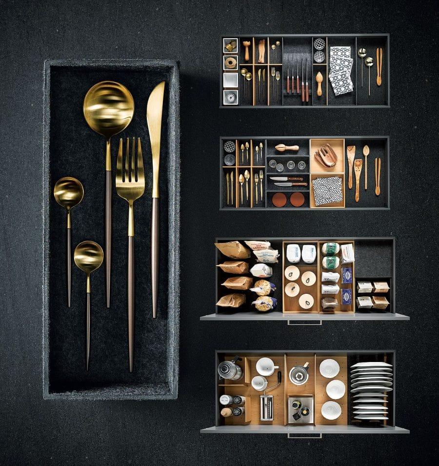 Gut organisiert: Mit den next125 Flexboxen aus Formvlies ist jede hochwertige Küche auch im Inneren aufgeräumt und sortiert. (Foto: next125)