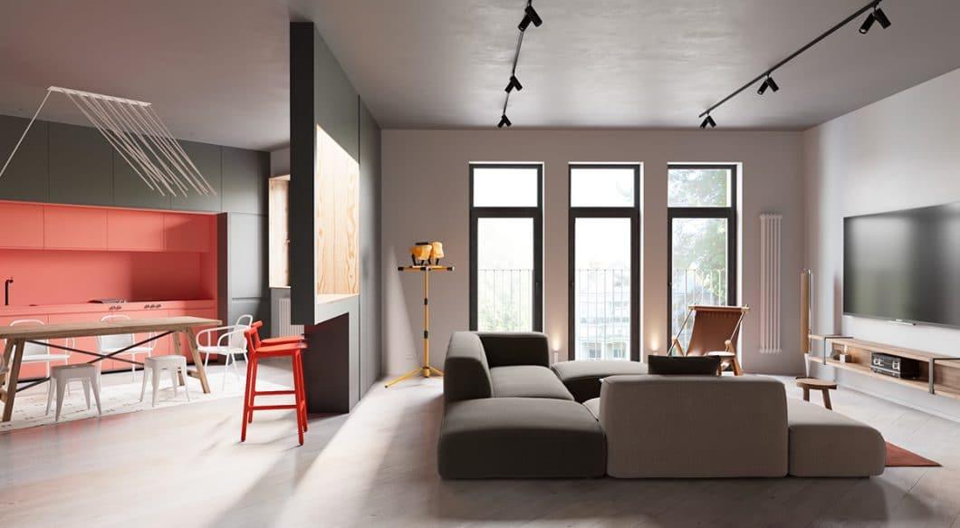 """Das """"Schaufenster"""" fungiert nicht nur als dezenter Raumtrenner, sondern wirft noch einmal weiteres Licht - und kann als Bar oder Anrichte genutzt werden. (Foto: Martin Architects/ Home Designing)"""