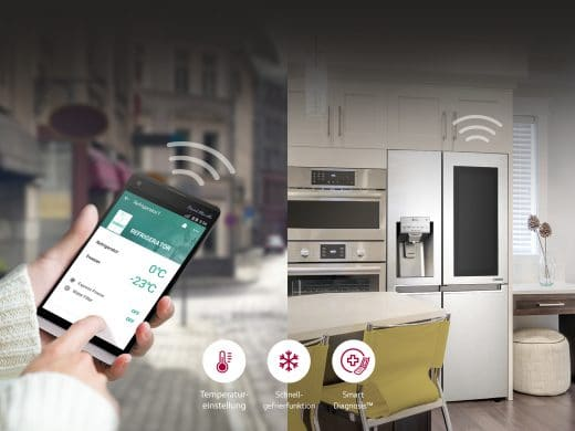 Unsere Küchenwelt wird immer vernetzter: Per Smartphone lässt sich auch der Kühlschrank einstellen - und gibt mittlerweile Anweisungen, ihn wieder zu befüllen. (Foto: LG Electronics)