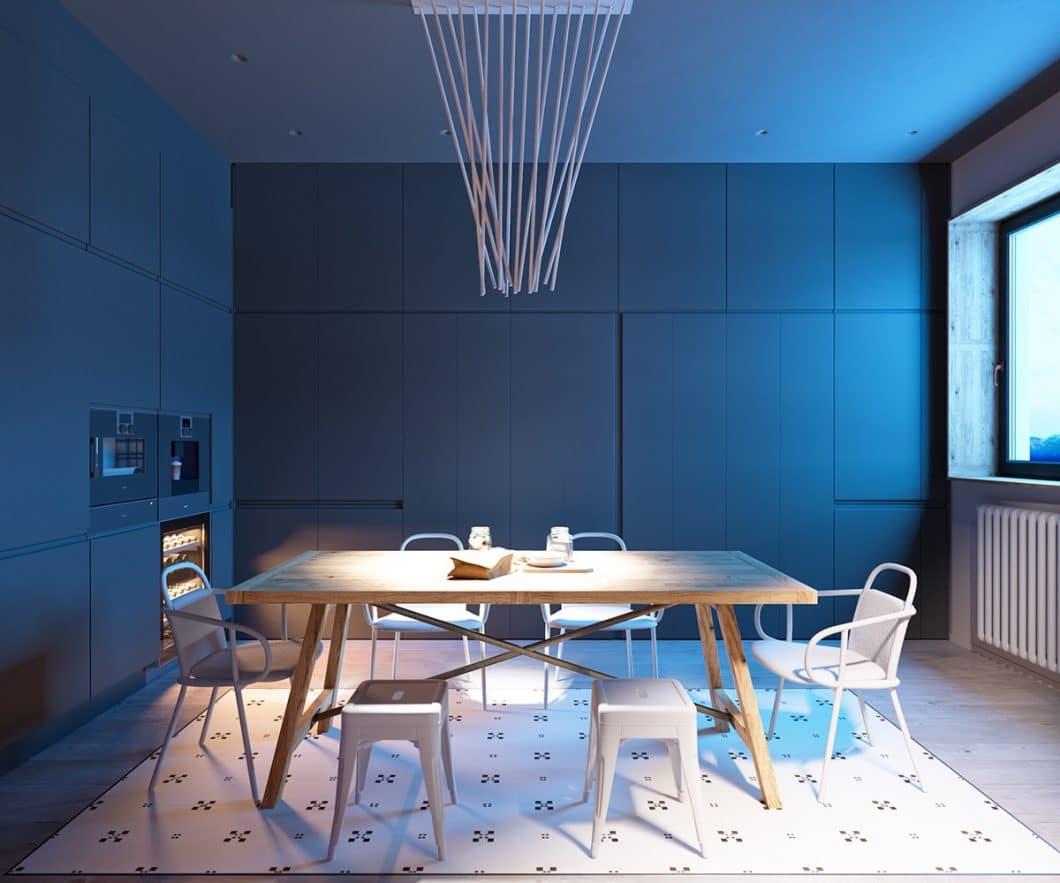 Licht aus, Spot an: Der Esstisch bildet den Mittelpunkt der Wohnung. Das ist auch auf das Interieur abgestimmt. (Foto: Martin Architects/ Home Designing)