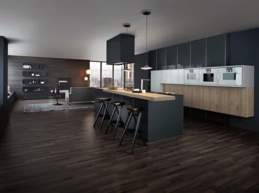 Mit dem Modell Synthia IOS Largo LG kann Leicht nicht nur bei Junggesellen punkten. Die Küche bestimmt edel und anmutig den Mittelpunkt des Raumes. (Foto: Leicht)