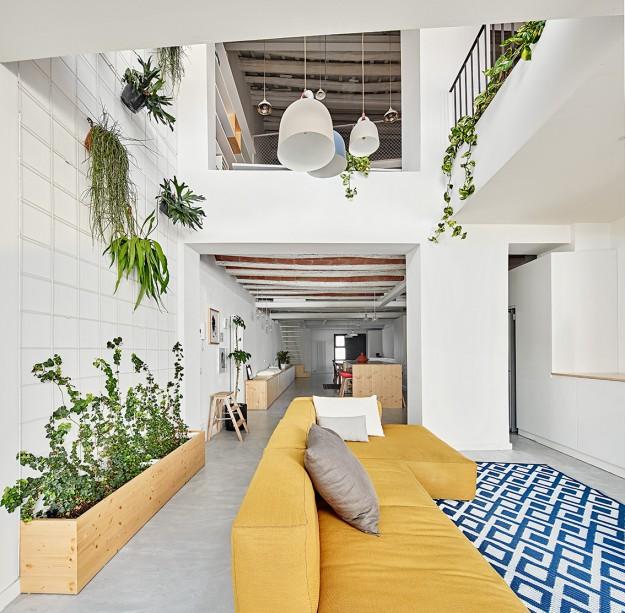 Blick vom Wohnbereich auf die Küchenzeile: Die Architekten spielten mit offenen Räumen und Galerien, Licht, katalanischen Pflanzen und kräftigen Farben auf einer kühlen schwedischen Basisnote. (Foto: José Hevia)