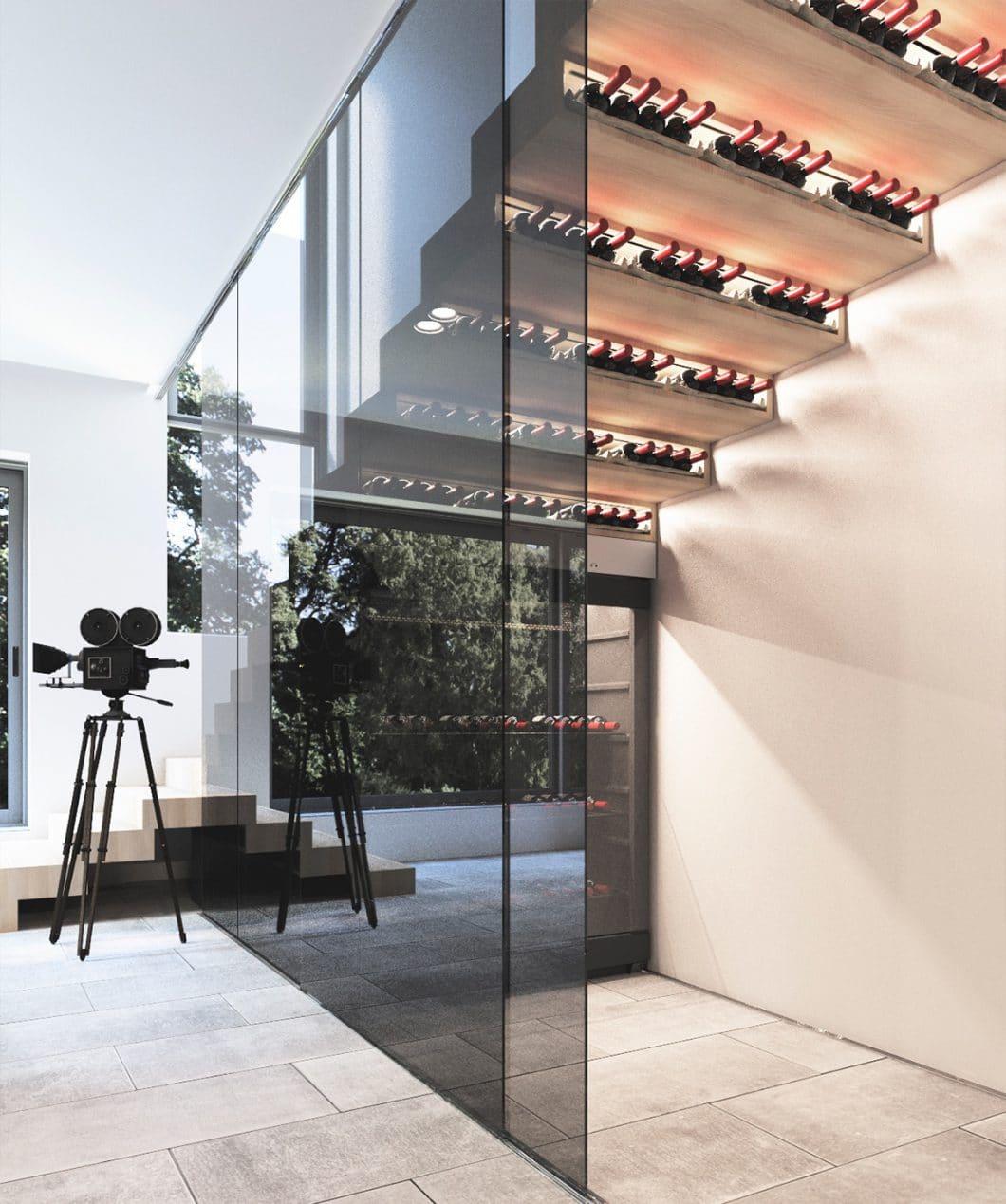Ja, unter - oder IN der Treppe - ist wirklich ein guter Lagerplatz. Wobei diese Visualisierung wohl kaum einsetzbar ist - schließlich sollte Wein eher dunkel gelagert werden. (Visualizer: Andriy Voskolovich)
