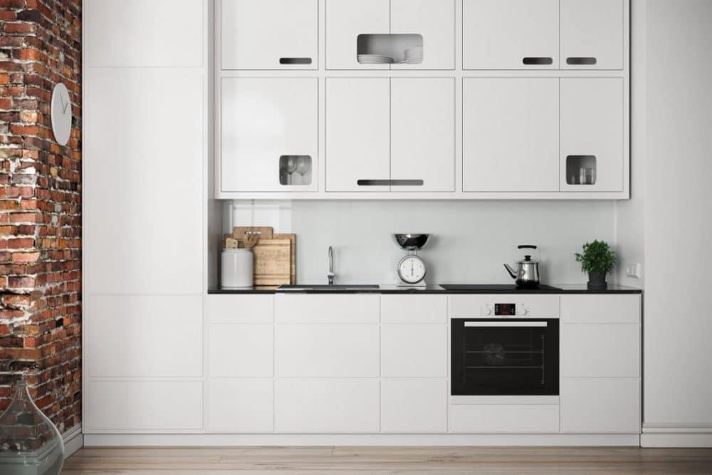 Diese grifflose Küche ist wunderschön - doch nur die in den Oberschrank eingelassenen Griffmulden sind wirklich praktisch. Denn wo im Unterschrank muss man drücken, um die Schubladen zu öffnen? Und wieviele öffnen sich, wenn ich mich aus Versehen dagegenlehne? (Visualizer: Filip Sapojnicov)